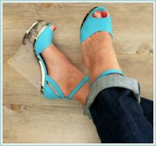 SEXY PEEP-TOE CLEAR WEDGES 8 8.5 BLUE STRIPPER HEEL anklestrap GLAMOUR shoe NEW