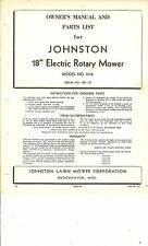 "Vintage Johnston Electric 18"" Rotary Mower Model 5118 SN 1001 up OM & Parts List"