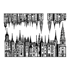 Crafty Individuals TOWN HOUSE ROWS Unmounted Red Rubber Stamps