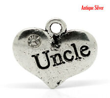 "4 Pc Antique Silver Clear Rhinestone ""Uncle"" Charms Pendants 16x14mm LC3012"