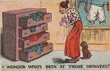 POSTCARD  COMIC  I wonder who's been at those drawers ?