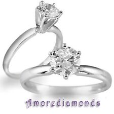 1.3 CT E VVS GIA ROUND NATURAL DIAMOND SOLITARE ENGAGEMENT RING 18K WHITE GOLD