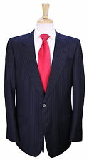 * YVES SAINT LAURENT * Rive Gauche Black Striped 2-Btn Slim Fit Wool Suit 44R