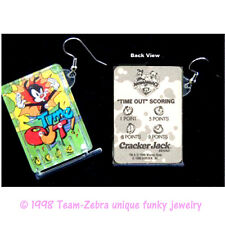 Huge Funky ANIMANIACS PINBALL GAME EARRINGS-Vintage Cracker Jack prizes-TIME OUT