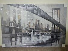 Modern Art New York City Twin Tower Skyline & Brooklyn Bridge Abstract Painting