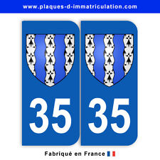 Stickers pour plaque département 35 Ile-et-vilaine (jeu de 2 stickers) blason