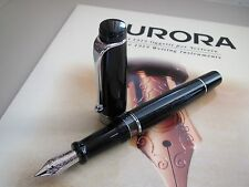 Aurora Optima black + chrome trim piston filling fountain pen Stub nib MIB