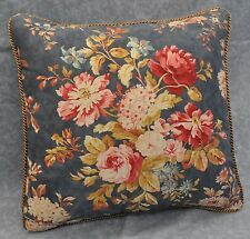 "Ralph Lauren Chadwick Floral Blue Custom Pillow 15"" with Satin Cord"