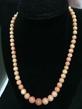 vintage angel skin natural coral silver clip necklace!!!
