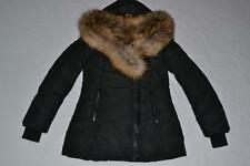 AUTHENTIC MACKAGE WOMEN ADALI-F5 BLACK FITTED DOWN COAT FUR HOOD L LARGE NEW