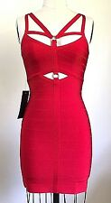 Bebe Angelica Harness Scarlet Red Bandage Dress Size S