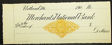 US Check Unlisted Merchants National Bank Portland Stamp 2c USA Scheck (H-8144