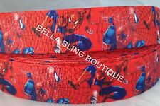 "1 METRE RED SPIDERMAN BOYS GROSGRAIN RIBBON 25MM 1"" HAIR BOW CAKE CARD BIRTHDAY"