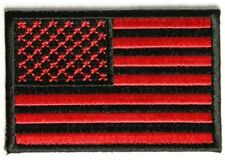 RED BLACK AMERICAN FLAG USA MILITARY STARS AND STRIPES EMBROIDERED PATCH