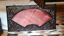 """ANTIQUE 19C CHINESE WOOD CARVED PIERCED PLAQUE,PAINTING FRAME FAN SHAPE 57""""x 31"""""""