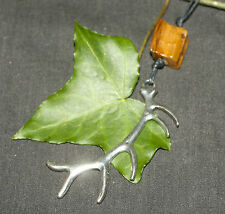 Stag Antler and Olive Wood Pendant on Cord - Cernunnos, Deer, Forest God, Pagan