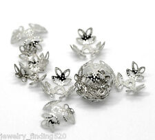 300PCs Silver Tone Flower Bead Caps Findings 14x14mm(Fit 12-14mm Bead)