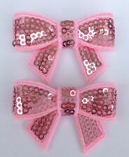 Pair of Red or Pink Sequin Hair Bow Alligator Clip
