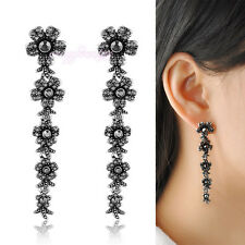 Vintage flower cluster crystal marcasite earring dangle Women statement jewelry
