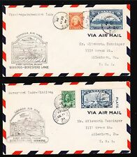 Canada 1st Flight 1934 Winnipeg - Beresford Lake & BACK Air Mail TWO COVERS 3v