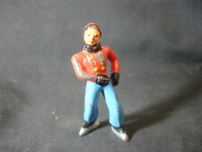 Old Vtg Lead Male Ice Skater Train Garden Figure Red Jacket w/Buttons Blue Pants