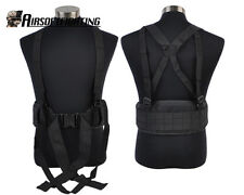 Airsoft Paintball Molle Tactical Police Waist Padded Belt with Suspender Black A