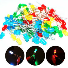 3mm DIY LED Diode Light White Yellow Red Green Blue Color Assorted Kit 100pcs
