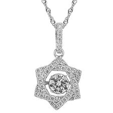 "Sterling Silver Jewish Star Dancing White CZ Pendant, 17.5"" Extension Chain"