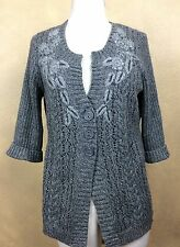 DNKY Heather Gray Short Sleeve Sweater Cotton Blend Embroidered Size L