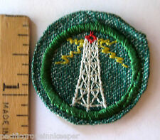 Vintage 1948-1955 Girl Scout RADIO & TELEVISION BADGE Broadcasting Tower Patch