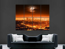 FULL MOON LOS ANGELES CITY SUNSET LA ART WALL PICTURE POSTER  GIANT HUGE