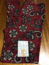 Lularoe TC Burgundy Leggings With A Floral And Paisley Design! Newly Released!
