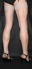 Extra Long Nude/Black Contrast Seam French/Point heel Stockings Cuban