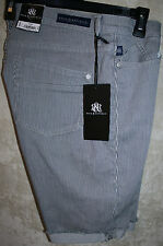 NEW Rock & Republic Cut-Off Short  5pocket  zipper front Blue White 12W  womens