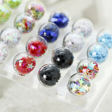 Korean Style Handmade Glass Round Ball Acrylic Five Star Inside Stud Earrings