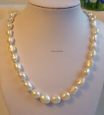 Genuine 9-10mm Baroque freshwater pearls necklace white