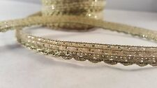 1.2cm- 1 meter Beautiful narrow gold dotted ribbon lace trimming for crafting