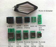 10 Programmer Adapters Sockets SP8 SP16 PLCC20/24/28/32/44 to DIP + IC extractor