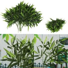 2Pcs Artificial Bamboo Leaf Plants Plastic Tree Branches 20 Leaves Home Decor