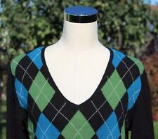 Cashmere Cardigan Sweater Argyle XL V Neck Black Teal Green Apt 9 EUC