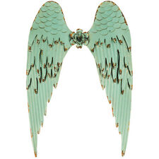"Charming 26"" Turquoise Angel Wings Metal Wall Decor. Beautiful Antique Look"