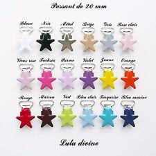 AU CHOIX 3 Pinces Etoile couleur, Clip, Attache tétine sucette passant de 20 mm