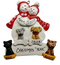 Personalized Snowman Couple Family of 2 with 4 Dogs or Cats Christmas Ornament