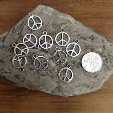 Peace silver tone Charms Pendants 15mm scrapbook/jewellery/crafts/cardmakingx100