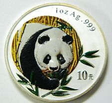 2003 China Panda 10 Yuan Silber  1 oz fein Farbe coloriert  silver color defects