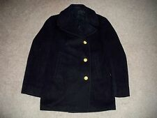 Vtg US Navy Vietnam Nam Mens Black Wool Stencil Military Pea Coat Jacket Size 36