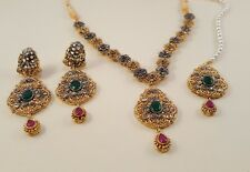Bollywood Style Indian Gold  Earrings Necklace tikka tika bridal set