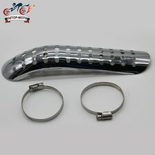 Curve Hole Exhaust Muffler Heat Shield Pipe Cover Chrome Motorcycle Cruiser