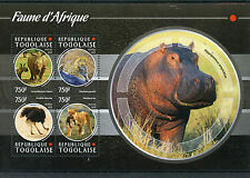 Togo 2015 MNH African Fauna 4v M/S Rhinos Hippos Lions Leopards Birds Ostriches