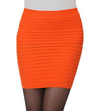 Women Lady Solid Color Striped High Waist Mini Skirts Office Pencil Short Skirt
